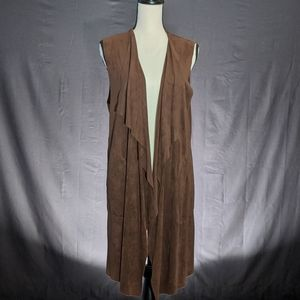 Max Studio Long Draped Faux Suede Vest